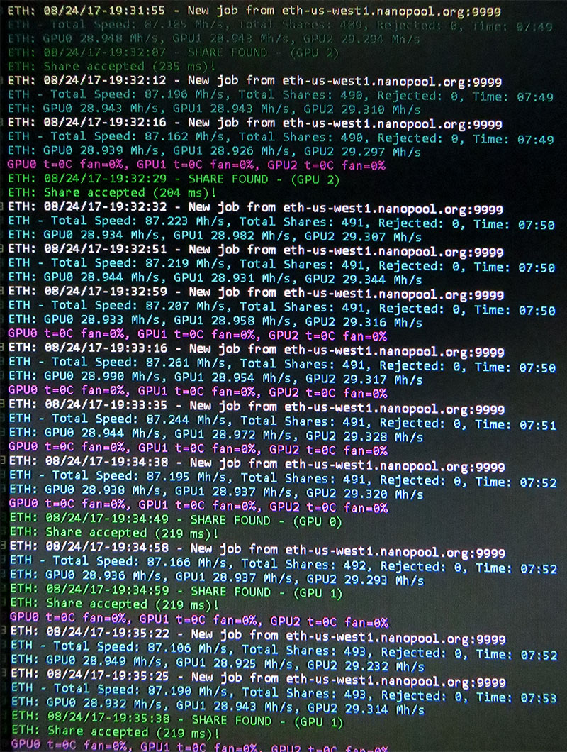 CryptoScythe v0.2 with 3 RX580s mining Ethereum at 87 Mh/s